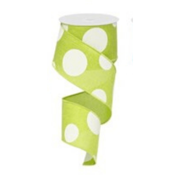 Lime Green with White Polka Dots Wired Ribbon