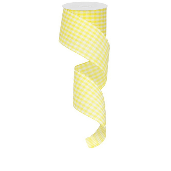 Yellow/White gingham wired ribbon