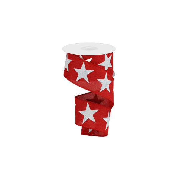 red ribbon with white stars