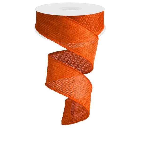 "1.5""X10yd Orange Cross Royal Burlap Wired Ribbon"