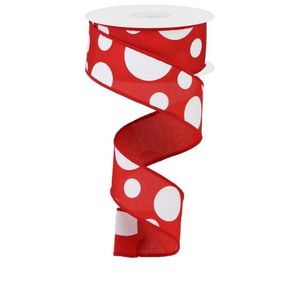 """1.5""""X10yd Red with White Giant Three Size Dot Wired Ribbon"""