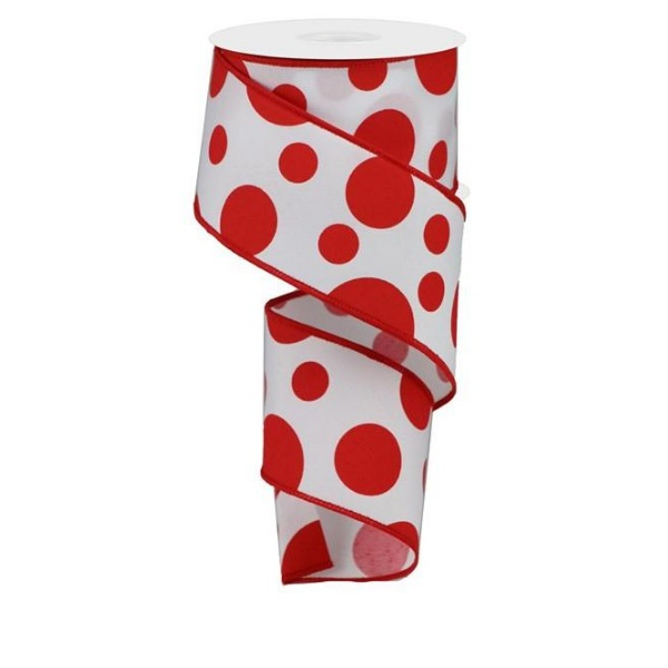 """2.5""""X10yd White with Red Giant Two Size Dots/Pg Fabric Wired Ribbon"""