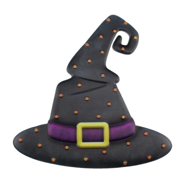 "12""H X 12""L Metal Embossed Witch Hat"