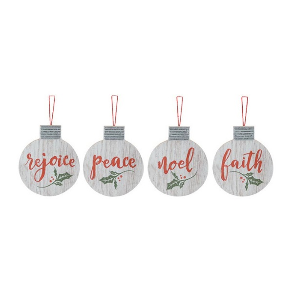 WOOD DISC HOLLY ASSORTED ORNAMENTS