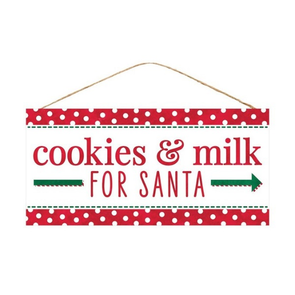 "12.5""L X 6""H Cookies & Milk For Santa"