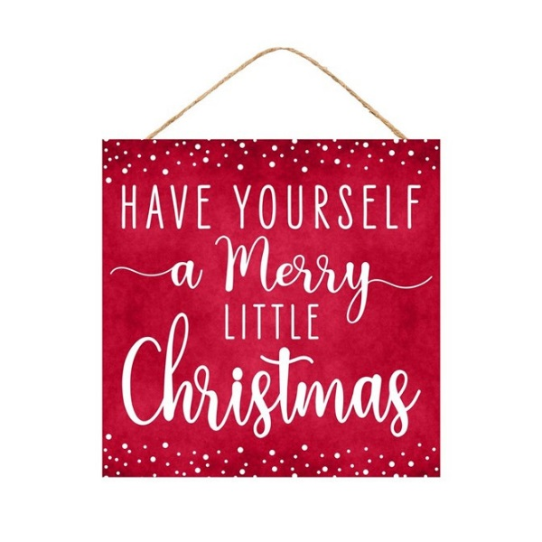 """10""""Sq Merry Little Christmas Sign"""