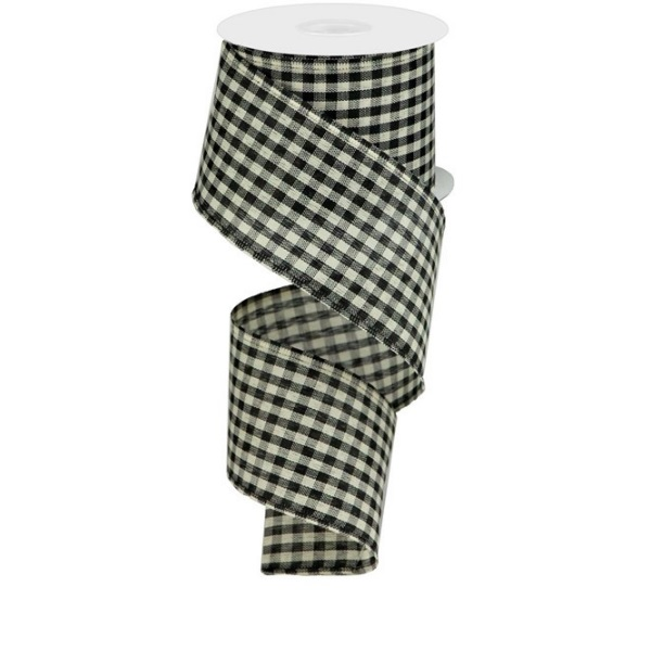 """2.5""""X10yd Black and Cream Primitive Gingham Check"""