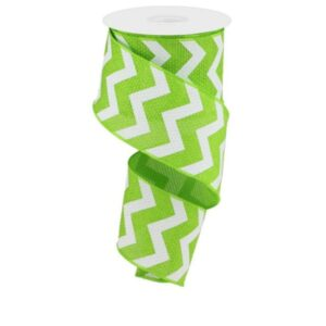 "2.5""X10yd Lime Green and White Wide Chevron Royal"