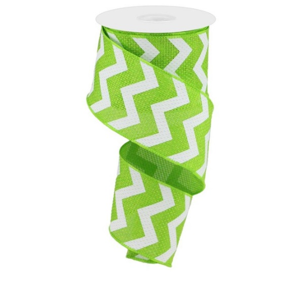 """2.5""""X10yd Lime Green and White Wide Chevron Royal"""