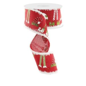"2.5""X10yd Elf Hats And Legs Ribbon"