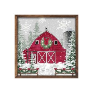 "10""Sq Winter Barn Sign W/Lights"