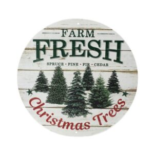 "12""Dia Farm Fresh Christmas Trees Sign"